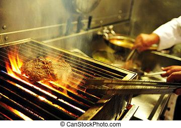 alimento, y, cocina, -, restaurante