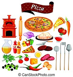 alimento, y, especia, ingrediente, para, pizza