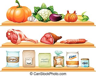alimento, y, ingredientes, en, el, estante