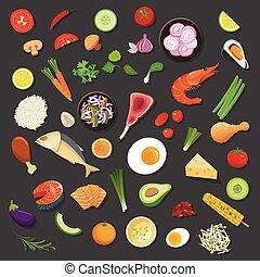 alimento, y, ingredientes, plano de fondo, vector, plano,...