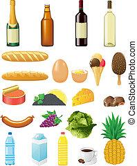 alimentos, conjunto, iconos