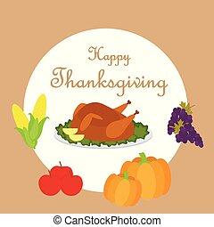 alimentos, feliz, acción de gracias, plano de fondo, variedad