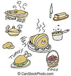 alimentos, feriado, conjunto, icono