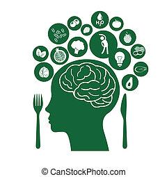alimentos, para, sano, cerebro