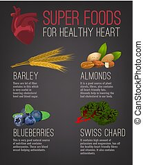 alimentos, súper, corazón, sano