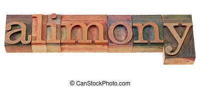 alimenty, słowo, typ, letterpress