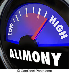Alimony Gauge or measurement of financial spousal support in low to high payment amounts