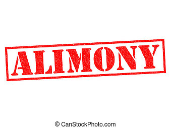 ALIMONY red Rubber Stamp over a white background.
