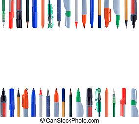 alineación, de, diferente, clases, de, escribir instrumentos
