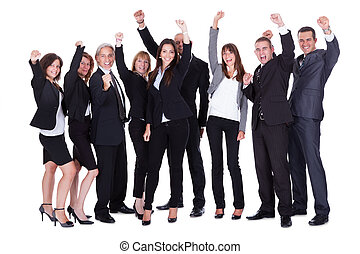 alineación, de, ejecutivos de negocio, o, socios