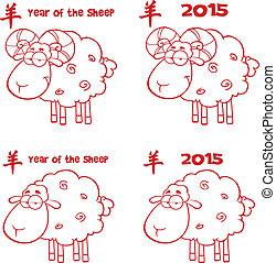 alinhado, jogo, vermelho, cobrança, sheep