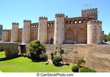 Aljaferia palace castle in Zaragoza Spain Aragon outdoor...