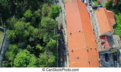 Alka procession in Sinj, Croatia - Copter aerial view of the...