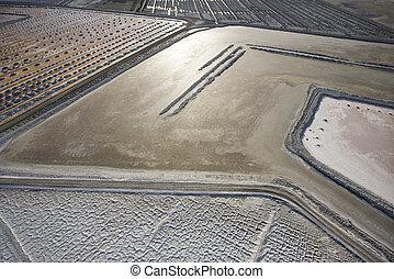 Alkali flat aerial. - Aerial of alkali flat in Owens Valley,...