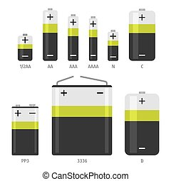 Alkaline battery different sizes vector icons set - Alkaline...