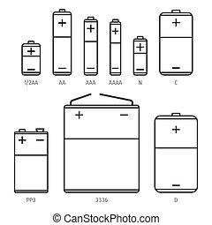 Alkaline battery different sizes vector icons set - Alkaline...