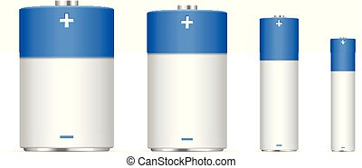 Alkaline battery set on a white background. Vector...