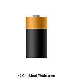 Alkaline battery sign isolated on back. Vector