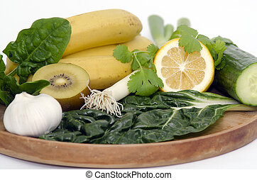 Alkaline diet - A wooden tray with Alkaline diet vegetables...