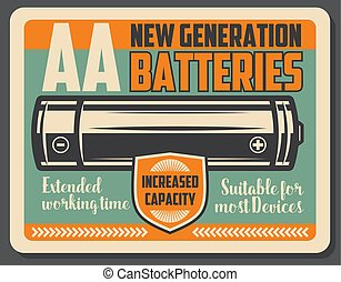 Alkaline electric battery retro signboard - Electric battery...