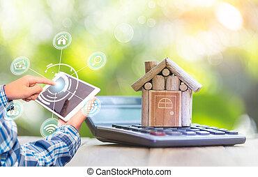 alkalmazás, estate., smartphone, kutató, vásárlás, becsap online, beír, tényleges