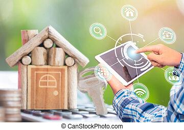 alkalmazás, online, kutató, smartphone, beír, tényleges, estate., vásárlás, eladás