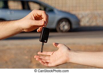 alkalmaz, kulcsok, autó, új, bérlet, vagy
