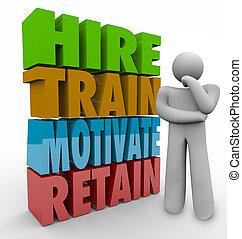 alkalmaz, motivál, megelégedettség, kiképez, munkavállaló, ...