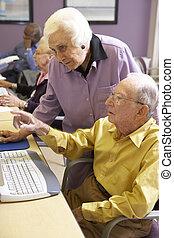 alkalmaz, nő, ételadag, számítógép, senior bábu