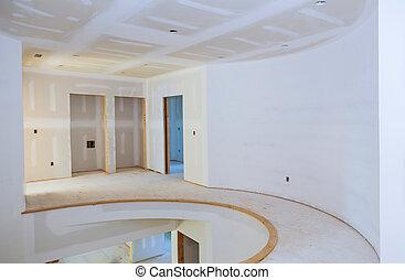 alkalmazott, festmény, ház, installed, terv, kijavít, kívül, belső, szerkesztés, drywall