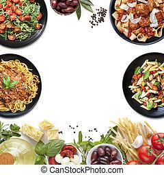 alkatrészek, élelmiszer, kollázs, főtt tészta, étkezés, olasz