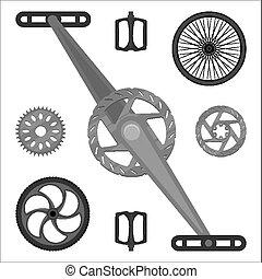 alkatrészek, multispeed, bicikli, fékez, fogaskerék-áttétel, bmx, cövek, tol, pedáloz