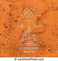 alkemi, symbol, vektor, geometrisk