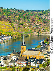 Alken town on the Moselle River in Rhineland-Palatinate, Germany
