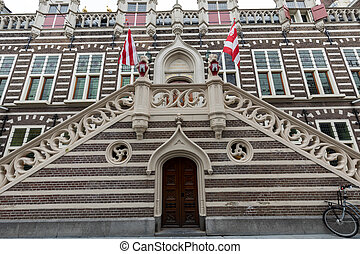 Stadthuis, facade of city hall in Alkmaar, North Holland,...