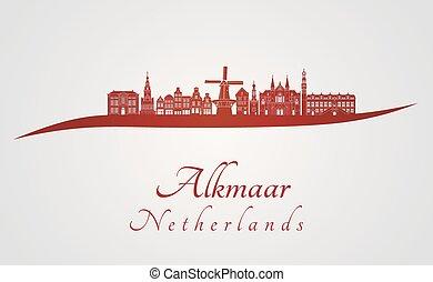 Alkmaar skyline in red