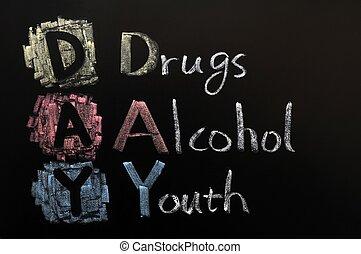 alkohol, betűszó, -, drogok, fiatalság, nap