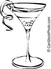 alkohol, cocktail, vektor, getränk