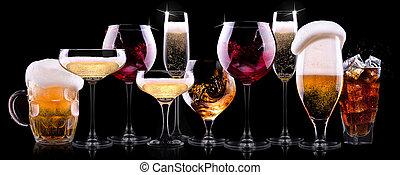 alkohol, getrãnke, verschieden, satz