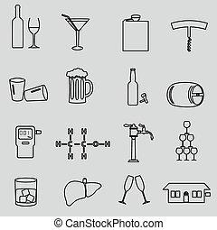 alkohol, jednoduchý, nárys, čerň, ikona, dát, eps10