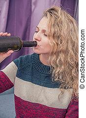 alkohol, m�dchen, trinken, junger