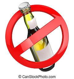 alkohol, nie, poznaczcie., odizolowany, tło., piwna butelka, biały