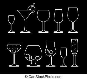 alkoholiker, sammlung, getränk