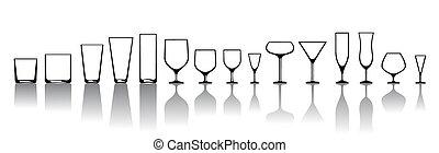 alkoholiker, verschieden, brille, getrãnke