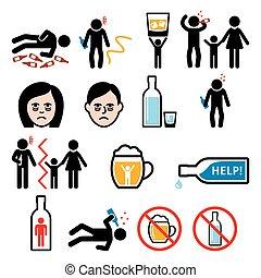 alkoholismus, alkohol, betrunken, heiligenbilder, sucht, mann