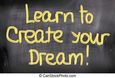 alkot, fogalom, álmodik, -e, tanul
