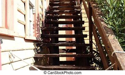 allé, entrée, maison, signe, peche, escalier