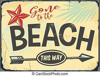 allé, vecteur, signe, retro, plage