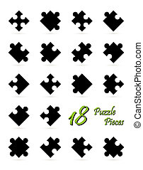 All 18 puzzle pieces - black