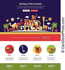 All about animals website header banner with webdesign elements